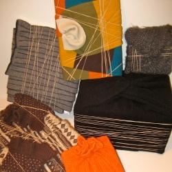 Écharpes de laine recyclées en emballage cadeau pour Noël